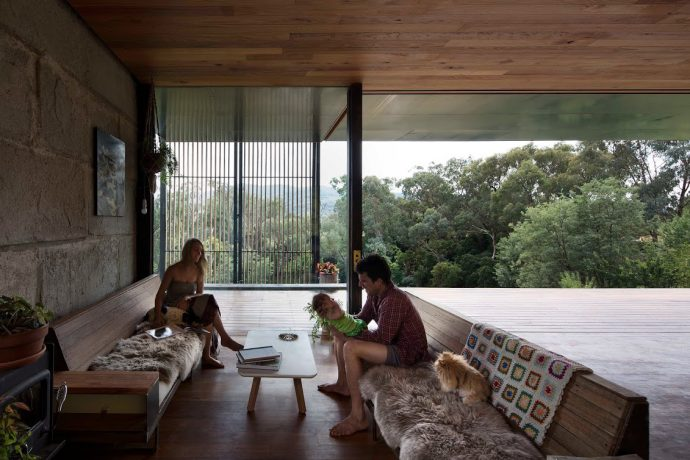 The Sawmill House's residents – a young family of three – needed a transformable space for living, working and entertaining. Photo by Ben Hosking.