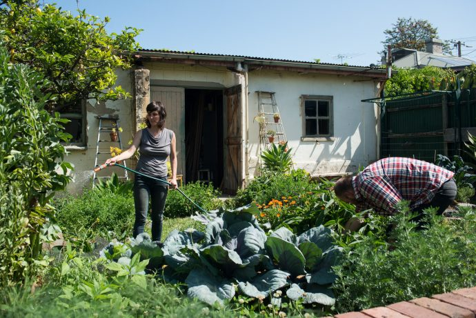 Grafa co-founders, partners Harriet Devlin and Travis Blandford tend to their lush backyard vegie patch and garden – in the background the door of the former Grafa studio space swings open. Photo by Fred Kroh.