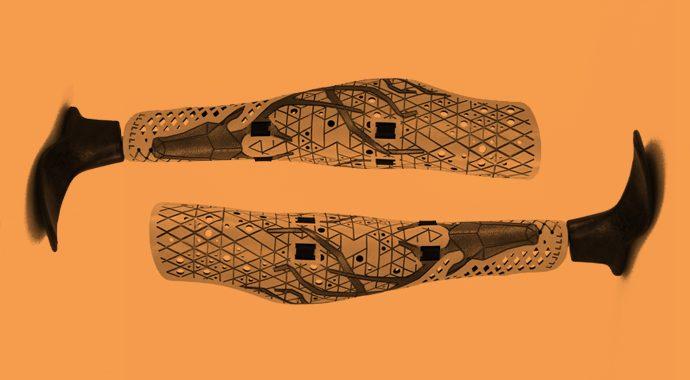 Prosethetic Leg Cover, ca. 2011, designed by McCauley Wanner and Ryan Palibroda.